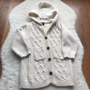 Baby Gap cable knit cardigan button sweater w/hood